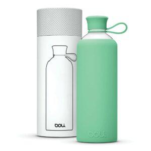 Nachhaltige Trinkflasche aus Glas in mint von Doli Bottles