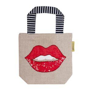 Kleine Baumwolltasche mit roten Pailletten-Lippen und gestreiften Tragegriffen von Artebene