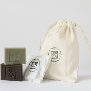 Naturkosmetik • Körperseife im Probierset mit 3 Stück Mini- Seifen zur Körperreinigung und Peeling im Baumwollsäckchen von Lima Cosmetics