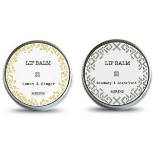 Naturkosmetik • Pflegendes Lippenbalsam-Set, Zitrone-Ingwer/Rosmarin-Grapefruit