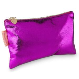 Schicke Stifttasche/ Federmäppchen in knalligem pink und Herzanhänger