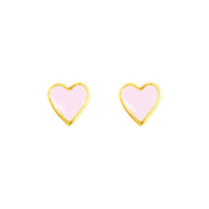 Zierliche Herz Ohrstecker rosa von &anne