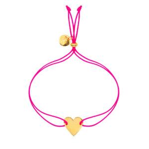 Pinkes Armband mit vergoldetem Herz-Anhänger von &anne