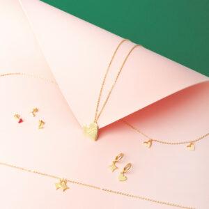 Vergoldete Halskette mit Herz-Anhänger und Gravur -Be cool honey bunny-