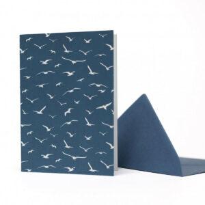 Karte+ Umschlag aus Geschenkpapier-Set -Birds-, petrol von My Pretty Circus