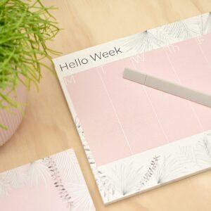 Hübscher Wochenplanner -Hello Week- in rosa/weiss von the room alive