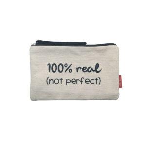 Kosmetiktasche/kleine Tasche mit Aufdruck -100% real-Not perfect-, naturfarben von hello bags