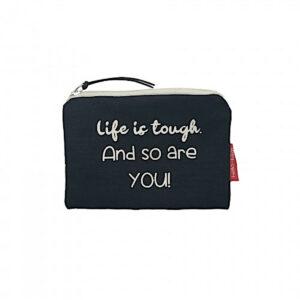 Münztasche /kleines Täschchen -Life ist tough-, schwarz von hello-bags