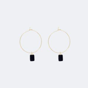 Stylische Creolen Ohrringe mit schwarzen Anhängern von 5MM Paper