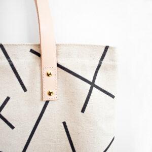 Einkaufstasche/Shopper -Mikado- aus robuster Baumwolle mit hellen Ledergriffen