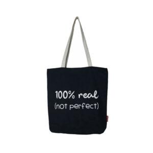 Shopper / Tote bag mit Schriftzug -100% real. Not perfect -, schwarz von hello bags