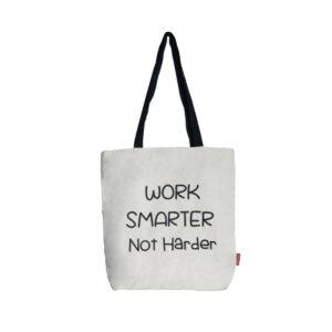 Shopper/ Tasche mit Aufdruck-Work smarter not harder-, naturfarben von hello-bags
