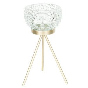 Edler Teelichthalter -Face- mit goldfarbenem Metallständer, transparent-grün von Clayre & Eef