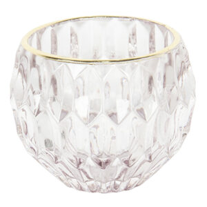 Teelichthalter mit Goldrand, transparent-rose von Clayre & Eef