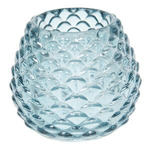Schickes gemustertes Teelichtglas oder kleine Vase in tollem blau von Clayre & Eef