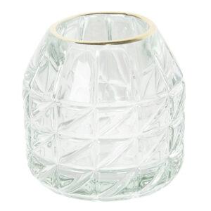 Teelichthalter / kleine Vase mit Goldrand, transparent-grün von Clayre & Eef