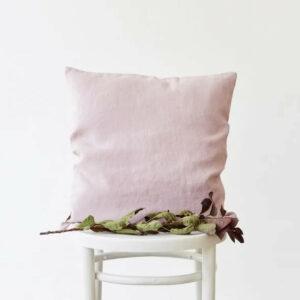 Kissenhülle 40x40 cm, rosa fliederfarben aus Leinen von LINEN TALES