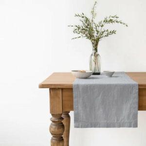 Tischläufer aus Leinen 40x150 cm, hellgrau von LINEN TALES
