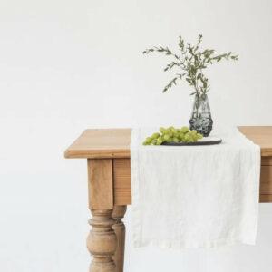 Tischläufer aus Leinen 40x150 cm, naturweiss von LINEN TALES