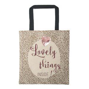 Baumwolltasche -Loveley things- mit rosa Pailletten-Herz von ARTEBENE